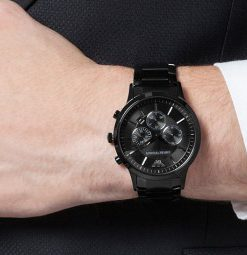 zwarte armani horloge